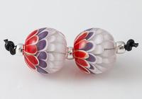 Red, White and PurpleDahlia Bead Pair