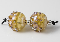 Yellow Lampwork Dahlia Bead Pair