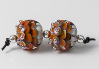 Orange Lampwork Dahlia Bead Pair