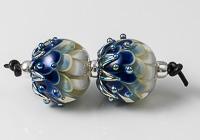 Blue Lampwork Dahlia Bead Pair