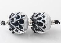 Black Lampwork Dahlia Beads