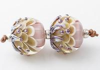 Amber Lampwork Dahlia Beads