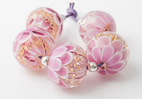 Pink and Gold Dahlia Beads