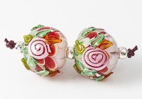 Rosy Lampwork Dahlia Beads