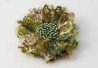 Green Fluffy Flower Brooch