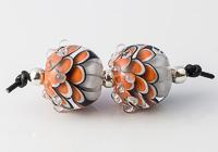 Orange Glass Dalhia Bead Pair