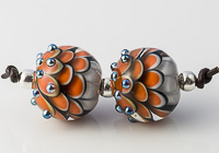 Orange Glass Dalhia Bead Pair