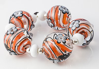 Large Orange Swirl Lampwork Beads