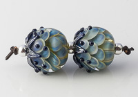 Silver Glass Dalhia Bead Pair