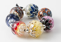 Multi-coloured Glass Dahlia Bead Collection