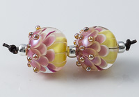 Pink Glass Dalhia Bead Pair