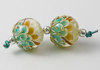 Green Glass Dalhia Bead Pair