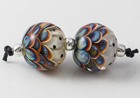 Multi-coloured Glass Dalhia Bead Pair