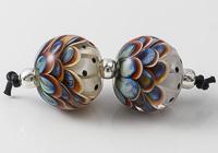 Multi-coloured Glass Dalhia Bead Pair