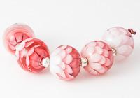 Pink Dahlia Lampwork Bead Set