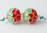 Watermelon Lampwork Dalhia Bead Pair