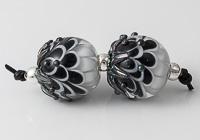 Black Lampwork Dalhia Bead Pair