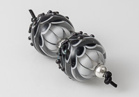 Black Lampwork Dalhia Bead Pair alternative view 1