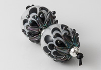 Black Lampwork Dalhia Bead Pair alternative view 2