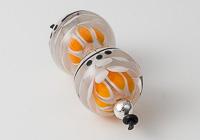 Orange Lampwork Dalhia Bead Pair alternative view 1