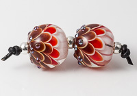 Red Lampwork Dalhia Bead Pair