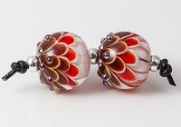 Red Lampwork Dalhia Bead Pair