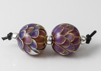 Purple Lampwork Dalhia Bead Pair