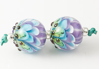 Purple and Turquoise Lampwork Dahlia Beads