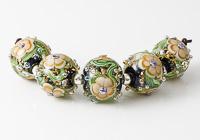 Amber Lampwork Flower Beads