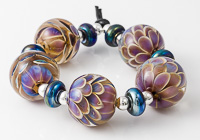 Silver Glass Lampwork Dalhia Beads