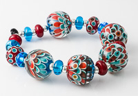 Red and Turquoise Lampwork Dahlia Beads