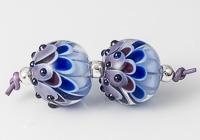 Blue Lampwork Dalhia Bead Pair