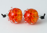 Orange Lampwork Dalhia Bead Pair