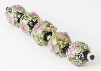 Pink Lampwork Flower Beads