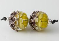 Mustard Lampwork Dahlia Beads