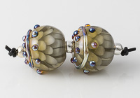 Grey Lampwork Dahlia Beads