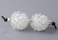 White Lampwork Dahlia Beads