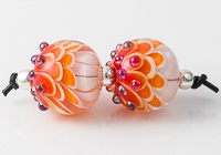 Orange Lampwork Dahlia Beads