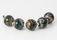 Amber and Turquoise Swirly Lampwork Beads
