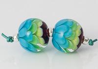 Rainbow Lampwork Dahlia Beads