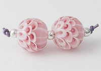 Pink Bubbly Lampwork Dahlia Beads