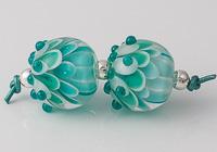 Teal Lampwork Dahlia Beads