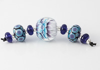 Turquoise and Purple Dahlia Bead Set