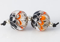 Orange and Black Lampwork Dahlia Bead Pair