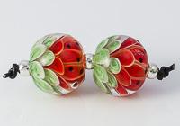Watermelon Lampwork Dahlia Bead Pair