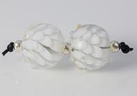 White Lampwork Dahlia Bead Pair