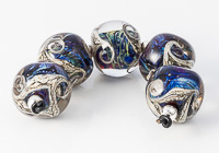 Silver Glass Swirl Nugget Beads