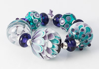 Purple and Teal Dahlia Beads
