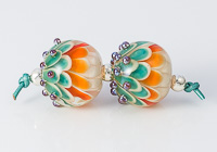 Orange and Green Lampwork Dahlia Bead Pair
