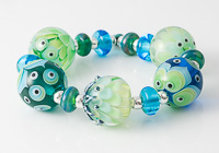 Teal Dahlia and Graphics Lampwork Beads